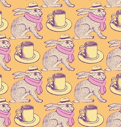 Sketch hare and cup in vintage style vector