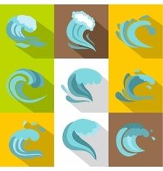 Tsunami icons set flat style vector