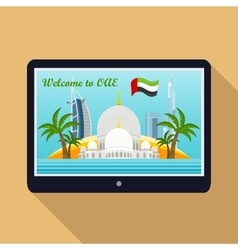 United Arab Emirates Travelling Banner on Tablet vector image