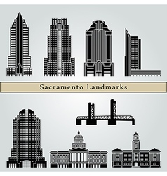 Sacramento landmarks and monuments vector
