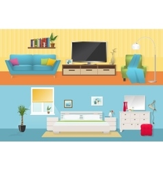 Interiors Flat Compositions vector image