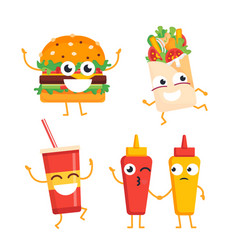 Fast food characters - set of mascot vector