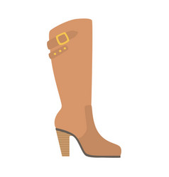 Knee-high female boot isolated footwear flat icon vector