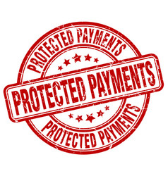 Protected payments red grunge stamp vector