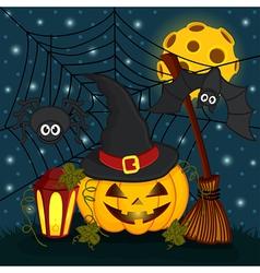 Pumpkin in eve halloween night vector