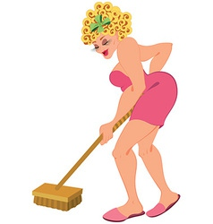 Cartoon woman in ping with floor brush vector