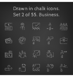 Business icon set drawn in chalk vector