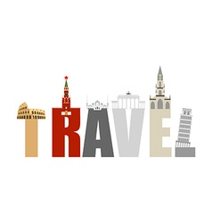 Travel attractions and letters structure of vector