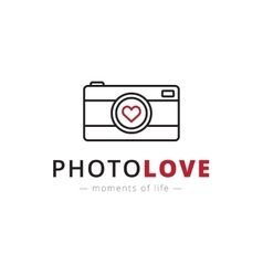 Line style camera logo brand sign vector