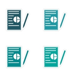 Set of stylish sticker on paper business papers vector