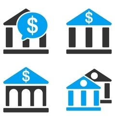 Bank buildings flat bicolor icons vector