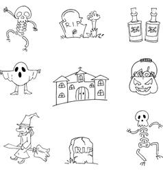 Halloween hand draw doodle flat vector