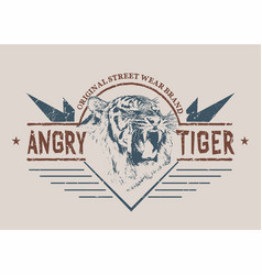 angry tiger retro label vector image