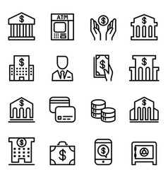 bank icon set in thin line style vector image vector image