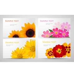 Banners with different colorful flowers vector