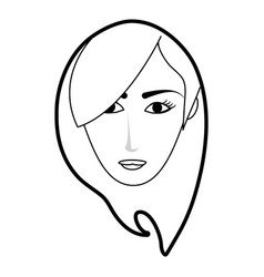 Black silhouette cartoon front face woman with vector