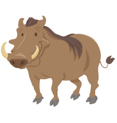 cartoon warthog animal character vector image vector image