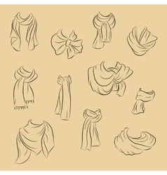 Collection of realistic scarves fashionable vector