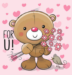 Cute cartoon teddy bear with a flower vector