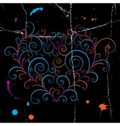 Dark grunge heart vector image
