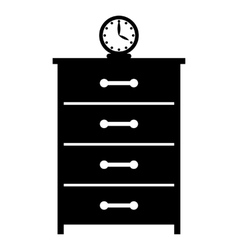 Dresser with a clock simple icon vector
