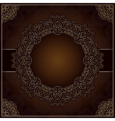 Elegant brown background with round lace ornament vector