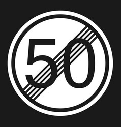End maximum speed limit 50 sign flat icon vector