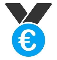 Euro Prize Medal Flat Icon vector image