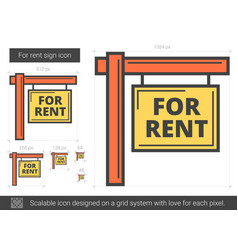 For rent sign line icon vector