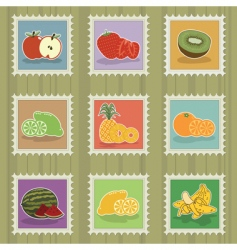 fruit stamps vector image vector image