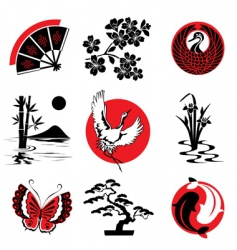 Japanese design elements vector