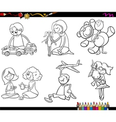 Kids and toys coloring page vector