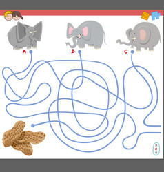 Maze game with elephant characters vector