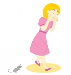 mouse scare girl vector image vector image