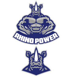 Muscular rhino mascot show his athletic body vector