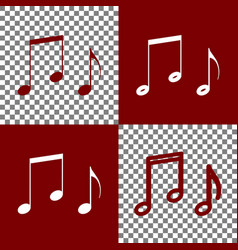 Music notes sign bordo and white icons vector