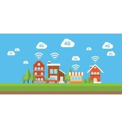 network 4g ifi internet smart city wireless vector image vector image