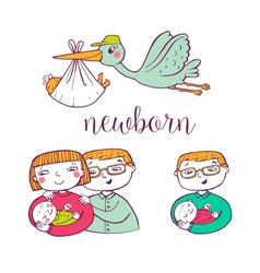 Newborn doodle icon set vector