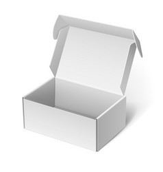 realistic white package cardboard box vector image vector image