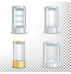 Round empty glass showcase podium set with vector