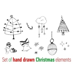 Set of hand drawn Christmas doodles vector image vector image