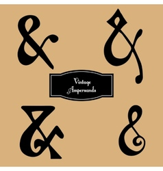 Set of vintage hand lettered ampersands vector