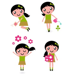 spring flower girl vector image vector image