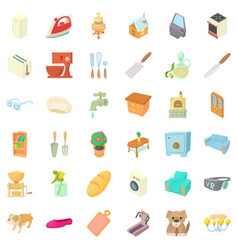 sweet home icons set cartoon style vector image vector image