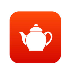 Teapot icon digital red vector