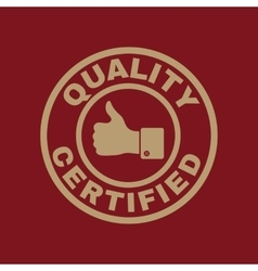 The certified quality and thumbs up icon approval vector