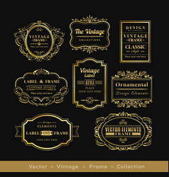 Vinage gold retro logo frame badge design element vector