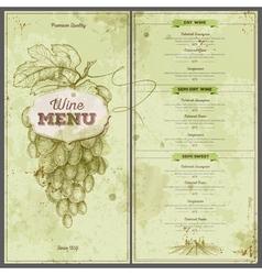 Vintage wine menu design document template vector