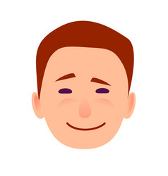young man smiling face flat icon vector image