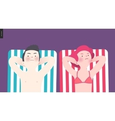 Unhappy couple sunbathing on the beach vector